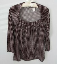 Worthington black pink check polyester 3/4 sleeve stretch top blouse *Sz L*