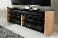 Alphason Finewoods Soundbar Wood Veneer & Glass Light Oak TV Stand Cabinet 135cm