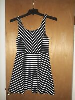 Striped Skater Dress Vneck back stretchy size Large by Bethany Mota