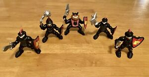 Vintage Fisher Price Great Adventures Castle Lot of 5 Black Knights Figures,1994