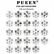 PUEEN 24E Nail Art LOVE ELEMENTS Image Plate Stamping Collection Set