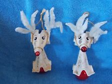 Set Of 2 Handmade Reindeer Christmas Ornament Egg Carton Red Glass Ornament