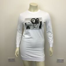 H&M Ladies White Black Photo Print Long Sleeve Jumper Dress Tunic Top UK Size 12