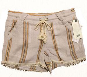 Jolt Junior French Terry Drawstrings Pom-Pom Hem Striped Shorts, Beige, 7 or 9