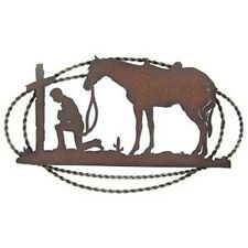 LARGE WALL PLAQUE WESTERN COWBOY AND HORSE PRAYING AT FOOT OF THE CROSS