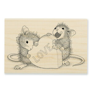 HOUSE MOUSE LOVE Candy Heart Wood Mounted Rubber Stamp STAMPENDOUS HMP133 New