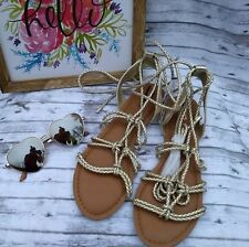 36743e5852679 Mossimo Gold Silver Lace Up Sandals Size 7.5