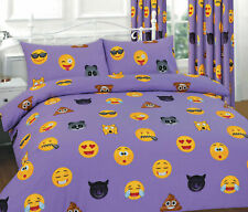 IKONS EMOJI CUTE SMILE PRINTED LILAC DUVET COVER & MATCHING CURTAIN 66X72