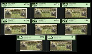 MEXICO Lot of (8) 1914 El Banco Minero 1 Peso PCGS 63 PPQ New Rare Banknote Set