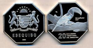 ESEQUIBO 20 Guilderros 2020 Proof Cu Ni, unusual coinage