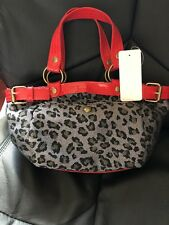 WOMENS LEOPARD/RED HAND BAG NEW/TAGGED Free Bag Charm