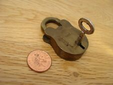 Antique Small Brass Padlock ' Secure  Lever ' with Key      ----  (83)
