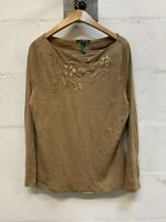 Vintage Lauren Ralph Lauren Long Sleeve Crew Neck Top Jumper Decorative Beige XL