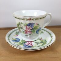 Vintage Royale Garden Tea Cup and Saucer Staffs England Floral White Bone China