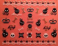 Nail Art 3D Decal Stickers Halloween Skull and Bones Miss You King JH092