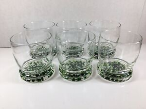 Set Of 6 Unique Lowball Rocks Double Whiskey Glasses Green White Splatter Bottom