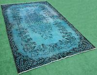 Turkish Rug 71''x112'' Handknotted Color Transition Blue Vintage Rug 5'9''x9'3''