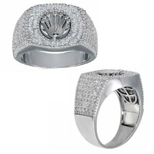Men's Sterling Silver Micro Pave Cubic Zirconia Stones Crown Design Ring