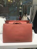 NWT Michael Kors LG Portia Saffiano Leather Shoulder Bag Antique Rose/Pink