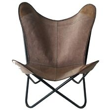 Ottawa Butterfly Chair Iron Stand and Leather Cover Indoor Outdoor Chair