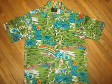 vtg 70s 80s VAN CORT HAWAIIAN SHIRT Green Birds Farmers Rainbow Floral Flowers S