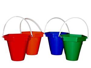 4  Sand Beach Sandbuckets 1 ea Red Orange Green Blue Made in USA Lead Free*