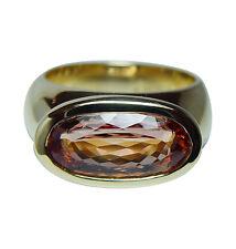 H. STERN Imperial Topaz Diamond 18K Gold Ring Designer Signed Estate Box