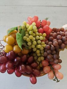 Lot of Artificial Grape Bunches Decorative Lifelike Rubber Fake Plastic 6 piece