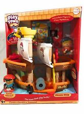 Learning Curve Play Town Pirate Ship and Pirates Set - Wooden Figure Play System