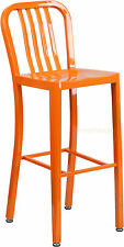MID-CENTURY ORANGE 'NAVY' STYLE BAR STOOL PATIO CHAIR IN-OUTDOOR COMMERCIAL 30""