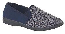 MENS SIZE 7 8 9 10 11 12 13 14 15 BLUE SLIP ON HERRINGBONE SLIPPERS HARD SOLE