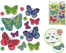 BUTTERFLIES & flowers 3D POP-UPS wall stickers 16 decals child's room decor