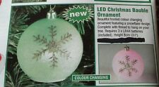 Brand new LED xmas ornament bauble frosted snowflake design with thread (boxed)