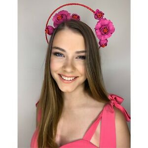 War Of The Roses Headband Pink & Red RRP$195 BNWT