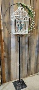 Vintage Floor Lamp Crystal Chandelier Bird Cage Lighting Fixture Custom Upcycle