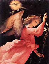 Beautiful Oil painting Lorenzo Lotto - Flying angel holding branch no framed art