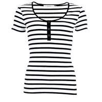 GESTUZ Top Black & White Stripe Cotton Blend Stretch RRP £40 SE