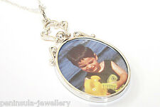 "Sterling Silver Oval Double Sided Photo frame pendant and 18"" chain Gift Boxed"