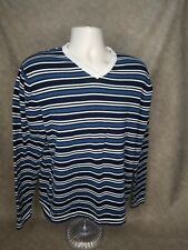 Sebastian Cooper Mens Long Sleeve V neck Shirt XL WITH STRIPES BLUE