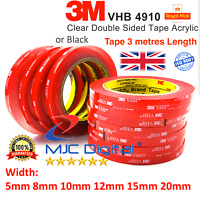 3M VHB DOUBLE SIDED STICKY TAPE ROLL VERY STRONG SELF ADHESIVE CLEAR & BLACK