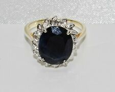 9ct Gold Blue Sapphire & Diamond Large Cluster Ring size M - Solid 9K Gold