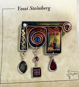 Yossi Steinberg Resin Crystal Flower Pot Wire Pin Button ON CARD