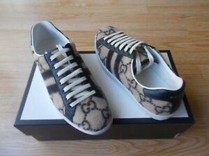 Gucci New Ace GG Wool Low Top Mens Lace up Sneakers Logo Beige IT 8 US 9 NIB