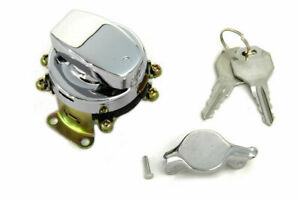 Fat Bob Ignition Switch with 6 Terminals Chrome for Harley Davidson by V-Twin