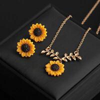 Sunflower Pendant Necklace Earring Women Imitation Pearls Jewelry Sweater Set
