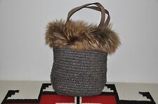 Brunello Cucinelli Made in Italy Hand Knit Wool & Leather Fur Handbag Bag