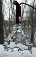 Orrefors Crystal 1990 Christmas Ornament Holly & Berries