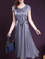 Ladies Dress A Line Swing Grey/Silver Midi Short Sleeves Belt Sz 3XL BNWT