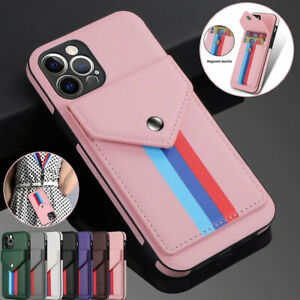 For iPhone 12 Pro Max 11 8/7/6 XR Synthetic Leather Wallet Card Case Back Cover