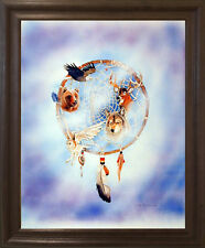 Dreamcatcher Native American Wall Decor Art Brown Rust Framed Picture (19x23)